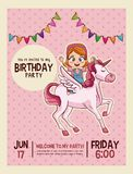 Happy birthday invitation pink card. Happy birthday invitation kids card vector illustration graphic design Stock Photography