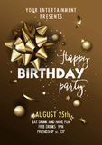Happy Birthday invitation poster template. Royalty Free Stock Image