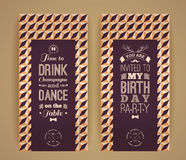 Happy birthday invitation, vintage retro background with geometr Royalty Free Stock Images