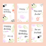 Happy birthday and invitations. Postcards template. In hand drawn style. Modern concept for your design Royalty Free Stock Image