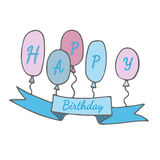 Happy Birthday isolated blue banner with balloons Stock Images