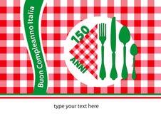 Happy birthday Italy table-cloth. Happy birthday Italy, 150 anniversary edition table-cloth stock illustration