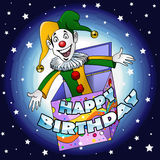 Happy birthday Jester. Cartoon-style illustration: a funny jester jumping off a gift box Stock Image