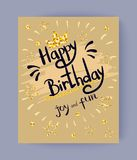 Happy Birthday Joy and Fun Colorful Festive Poster. With congratulation decorated with golden stars and doodles. Vector illustration on light background Royalty Free Stock Images