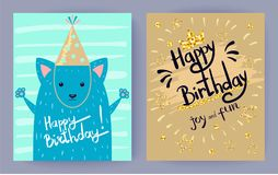 Happy Birthday Joy and Fun Vector Illustration stock illustration