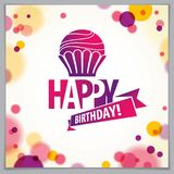 Happy Birthday joyful and bright vector greeting card. Includes. Beautiful lettering and cupcake composition placed over blurred circles abstract background stock illustration