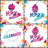 Happy Birthday joyful and bright vector greeting cards set. Incl. Udes beautiful lettering and cupcake composition placed over blurred circles abstract royalty free illustration