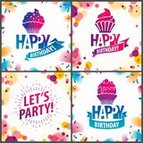Happy Birthday joyful and bright vector greeting cards set. Incl. Udes beautiful lettering and cupcake composition placed over blurred circles abstract stock illustration