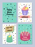 Happy Birthday, Keep Calm and Celebrate Poster. Set of festive cards, enjoy your birthday, it s time to celebrate, vector illustration, text sample Royalty Free Stock Photos