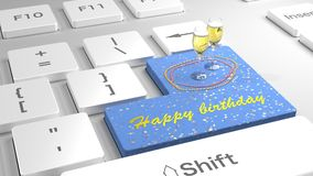 Happy birthday keyboard with glitter and champagne. White keyboard with flat keys with the enter key in blue showing happy birthday and two glasses of champagne Stock Image
