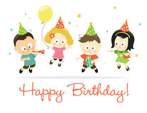 Happy Birthday kids 2. Birthday card w/ kids of different nationalities Royalty Free Stock Images