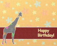 Happy birthday kids background. Happy birthday background with giraffe vector illustration