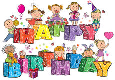 Happy Birthday kids on letters Royalty Free Stock Images