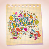 Happy Birthday kids note paper cartoon illustration Stock Photo