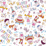Happy Birthday kids party pattern stock illustration