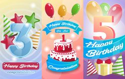 Happy birthday kids postcard set Royalty Free Stock Photo