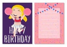 Happy Birthday Kids Postcard Template Stock Photo