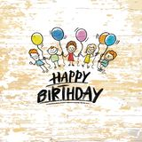 Happy birthday with kids on wooden background stock illustration