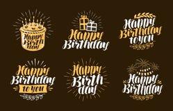 Happy Birthday, label. Beautiful handwritten lettering. Birth day, holiday symbols or logos. Vector illustration Stock Image