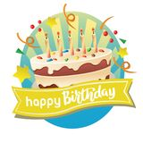 Happy birthday label with big cake. Additional in eps 10 Royalty Free Stock Photography
