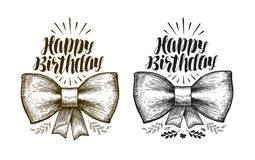Happy birthday, label. Birth day, holiday symbol. Typographic design. Lettering, calligraphy vector illustration Stock Photography