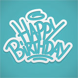 Happy birthday label lettering Stock Photos