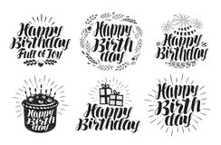 Happy Birthday, label set. Birth day, holiday symbol or logo. Handwritten lettering, calligraphy Stock Photography