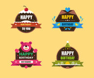 Happy Birthday Labels Collection, Vector illustration Royalty Free Stock Photography