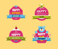 Happy Birthday Labels Collection, Vector illustration Stock Photos