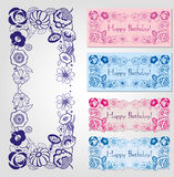 Happy birthday labels with floral frame. Happy birthday label design with floral frame in male and female colors Stock Photo
