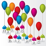 Happy birthday labels hanging on color balloons Royalty Free Stock Images