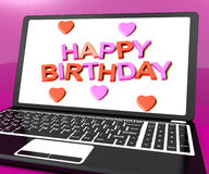 Happy Birthday On Laptop Computer Royalty Free Stock Images