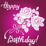 Happy Birthday lettering and bouquet of roses on purple background. Happy Birthday lettering and bouquet of roses are on purple background, greeting card with Royalty Free Stock Photo