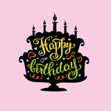 Happy birthday lettering  in cake  with candles. Stock vector illustration Stock Photo