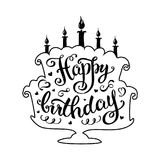 Happy birthday lettering  in cake  with candles. Stock vector illustration Stock Images
