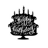Happy birthday lettering in cake with candles. Stock vector illustration royalty free illustration
