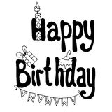 Happy Birthday lettering with cake, gift and candle. Greeting card vector illustration Royalty Free Stock Photos