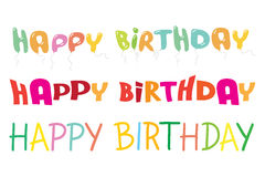Happy birthday lettering colorful vector illustrat. Happy birthday 3 letterings colorful vector illustration Royalty Free Stock Image