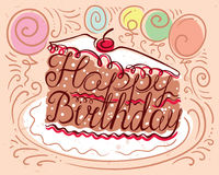 Happy Birthday lettering composition in piece of cake silhouette Stock Photos