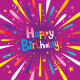 Happy Birthday. Lettering design with burst explosion fire works Royalty Free Stock Photography