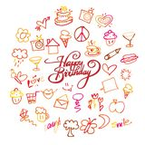 Happy birthday lettering and doodles. Hand-drawn sketches. Happy childhood icons Stock Photography