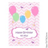 Happy birthday lettering greeting card with balloons on a pink background. stock illustration