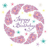 Happy birthday lettering in a hand drawn frame with comet and stars. Vector illustration Stock Photography
