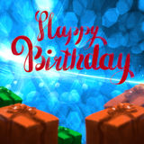 Happy Birthday lettering illustration with gift boxes ribbon wrapped on the blue bokeh background. Copyspace for your. Name text card Stock Photography