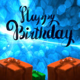 Happy Birthday lettering illustration with gift boxes ribbon wrapped on the blue bokeh background. Copyspace for your. Name text card Stock Photo