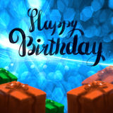 Happy Birthday lettering illustration with gift boxes ribbon wrapped on the blue bokeh background. Copyspace for your. Name text card Stock Images