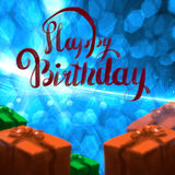 Happy Birthday lettering illustration with gift boxes ribbon wrapped on the blue bokeh background. Copyspace for your. Name text card Royalty Free Stock Photo