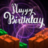 Happy Birthday lettering illustration with gift boxes ribbon wrapped on the dark bokeh background. Copyspace for your. Name text card Royalty Free Stock Photography