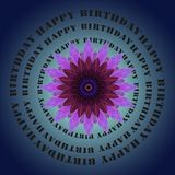 Happy birthday lettering and lilac flower Stock Images