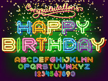 Happy Birthday lettering Neon Font Royalty Free Stock Photo
